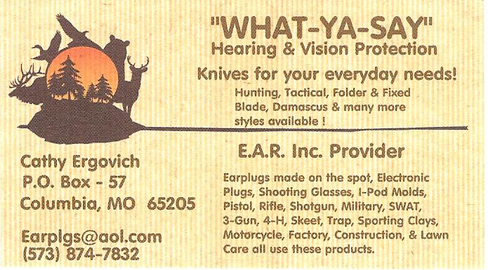 What Ya Say custom molded hearing protection by Cathy Ergovich preferred by Todd Burke tactical training specialties and Green Valley Rifle and Pistol Club